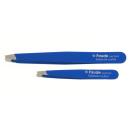 Kosmetische Pinzette schräg kurz blau 6,5cm